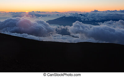 Maui Clouds at Summit - View from above Haleakala mountains...