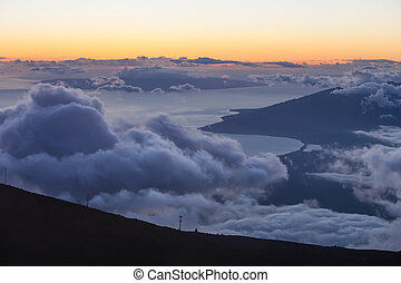 Sunset from Mountain Top - View from Haleakala mountain...