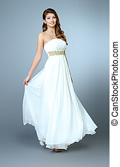 airy dress - Full length portrait of a charming beautiful...
