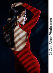 silhouette - Fashion shot of a sexual woman in elegant red...