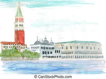 watercolor: Venice, Italy - Piazza San Marco - watercolor...