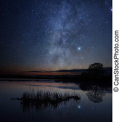 Stars over the lake - A picture of starry sky over the lake