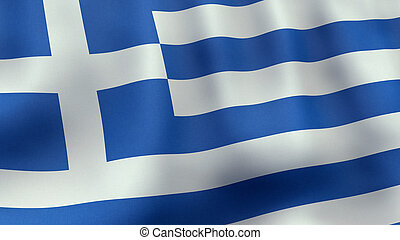 3D rendered waving Greek flag - A 3D rendered still of a...