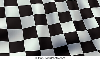 3D rendered waving checkered racing flag - A 3D rendered...