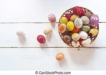 Basket with easter eggs - Basket full of easter eggs on a...