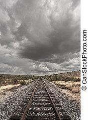 Single Railroad Track in Desert - Single railroad track with...