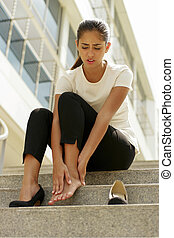 Business Woman Walking On High Heels Feeling Pain At Feet -...