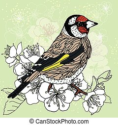 Goldfinch at the cherry blossoms - stylized bird on a...