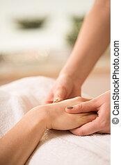 Close-up of hand massage