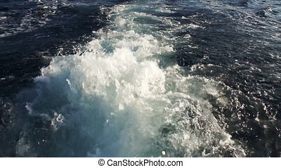 Sea waves - View behind the speed boat in Red sea