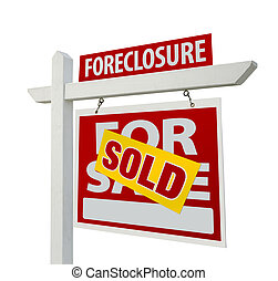Sold Foreclosure Home For Sale Real Estate Sign Isolated