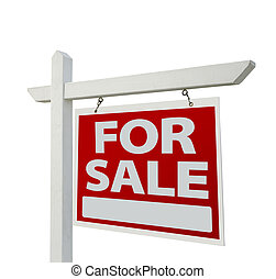 Home For Sale Real Estate Sign Isolated on a White...