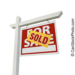 Sold Home For Sale Real Estate Sign Isolated on a White...