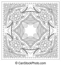 coloring book square page for adults - ethnic floral carpet...