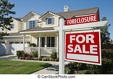 Foreclosure Home For Sale Sign and House - Foreclosure Home...