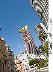 Skyscraper and Constraction crane view in Monaco , Monte...