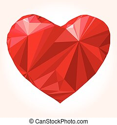 Heart Love symbol Low-poly colorful
