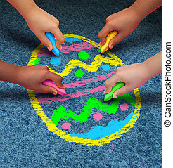 Easter Arts And Crafts - Easter arts and crafts concept as a...