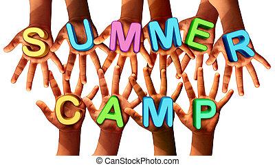 verano, campo, niños,