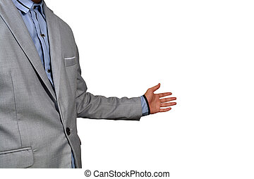 Business Man show welcome or invite gesture on White...