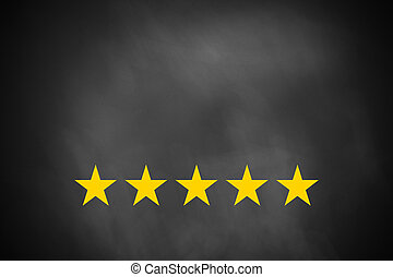 five golden stars on black chalkboard - five golden rating...
