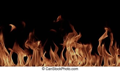 High resolution blazing flames on a black background -...