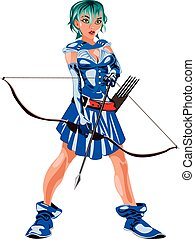 archer - the Archer girl in a blue suit with a bow in his...