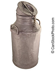 Old milk can - Antique milk can isolated