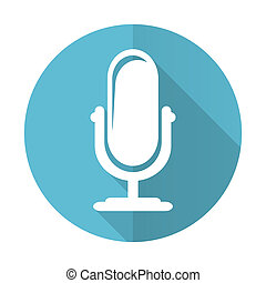 microphone blue flat icon podcast sign