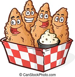 Chicken Tenders Cartoon - Crispy Golden Chicken Tenders or...