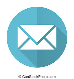 email blue flat icon post sign
