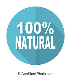 natural blue flat icon 100 percent natural sign