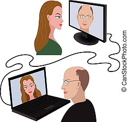 Man and woman having a video chat - Illustration of man and...