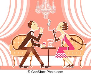 Vector couple of man and woman in vintage illustration -...