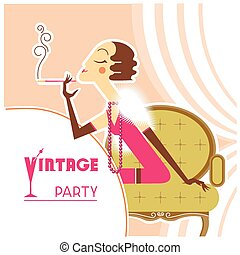 Vector vintage party flapper girl with sigaret - Retro...