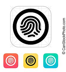 Fingerprint scanner icon. Vector illustration.