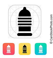 Ribbed condom icon. Vector illustration.