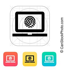 Laptop fingerprint icon.