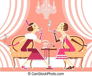 Vector flapper girls talking and smoking cigarettes