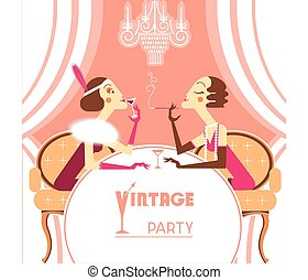 Vector flapper girls talking on retro party room - Vintage...