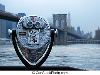 View of the Brooklyn bridge - the view of the Brooklyn...