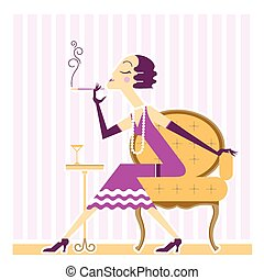 Vector flapper girl with cigaret - Flapper girl with cigaret...