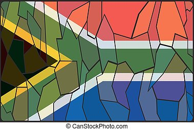 South Africa Flag Stained Glass Window - A South Africa flag...
