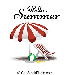 Hello Summer text with beach chair and umbrella