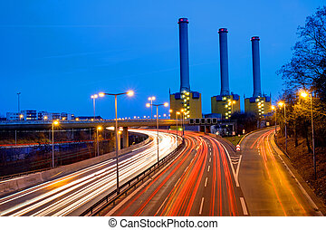 Power station and highway in Berlin - Power station and...