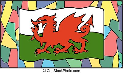 Welsh Flag On Stained Glass - A Welsh flag on a stained...
