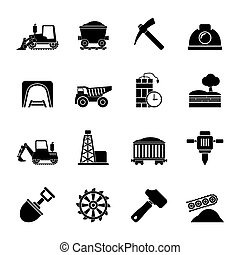 Mining industry icons - Silhouette Mining and quarrying...