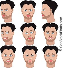 Set of emotions of the same man - Set of variation of...