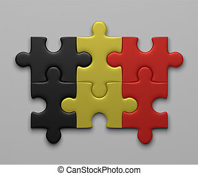 Belgian flag of puzzle pieces - Belgian flag assembled of...