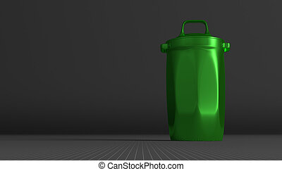 Green glossy rubbish bin on gray squared background
